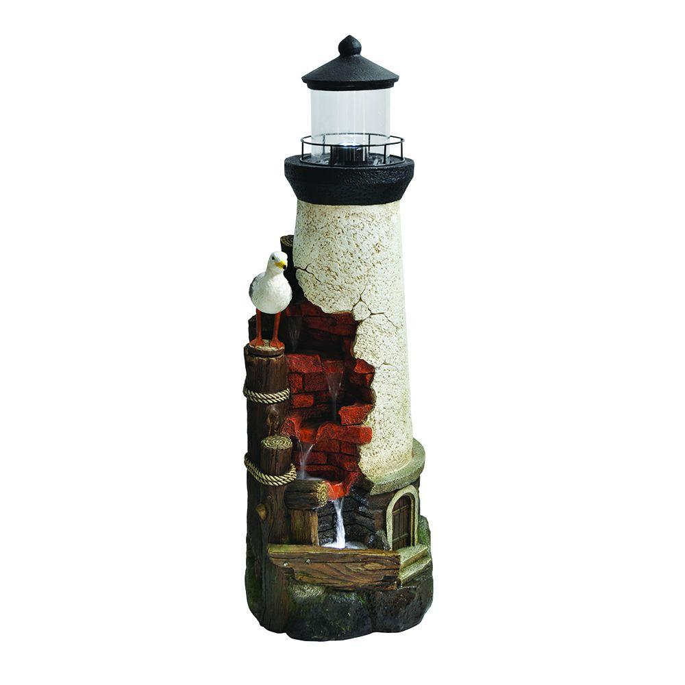 Beckett Coastal Lighthouse Fountain LED Light Waterfall Oasis Ocean Garden  Decor