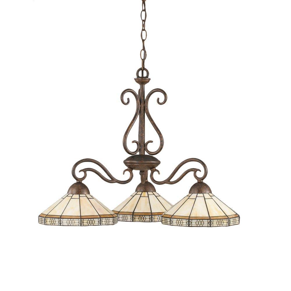 Concord 3-Light Bronze Incandescent Ceiling Chandelier