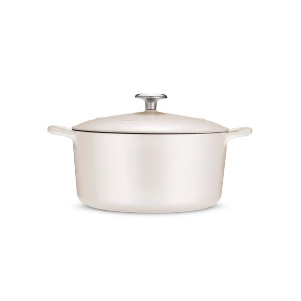 Gourmet 5.5 qt. Round Porcelain-Enameled Cast Iron Dutch Oven in Matte White with Lid