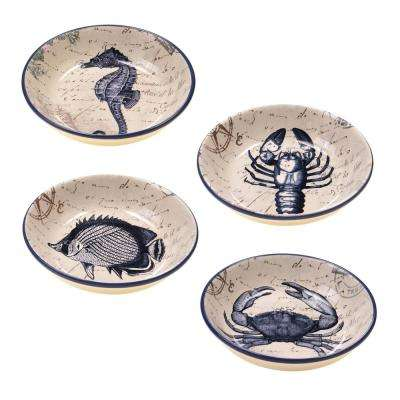 Coastal Postcards Blue Salad and Pasta bowl (Set of 4)