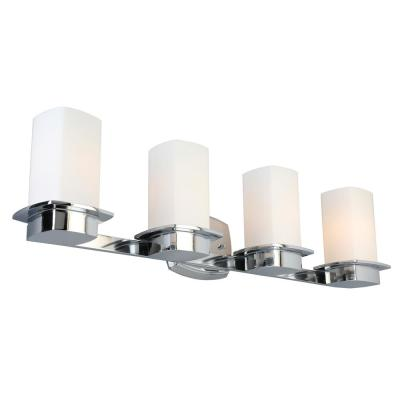 Vlacker 4-Light Chrome Vanity Light with Frosted Opal Glass Shades