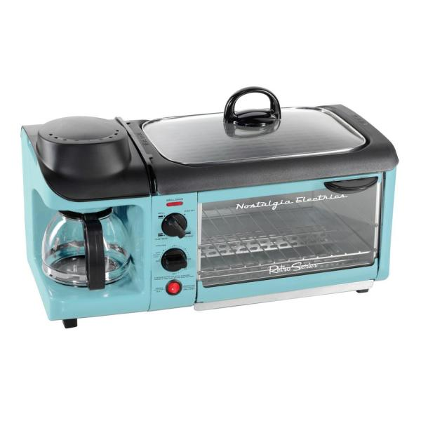 Nostalgia-Retro Breakfast Center 1500 W 4-Slice Blue Toaster Oven with Built-In Timer