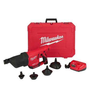 M12 12-Volt Lithium-Ion Cordless Drain Cleaning Airsnake Air Gun (Tool-Only) W/ (1) 2.0Ah Battery, Charger & Attachments