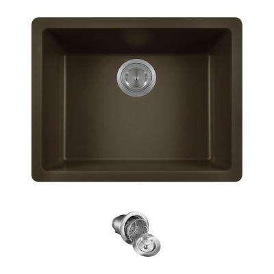 All-in-One Dualmount Composite 22 in. Single Bowl Kitchen Sink in Mocha