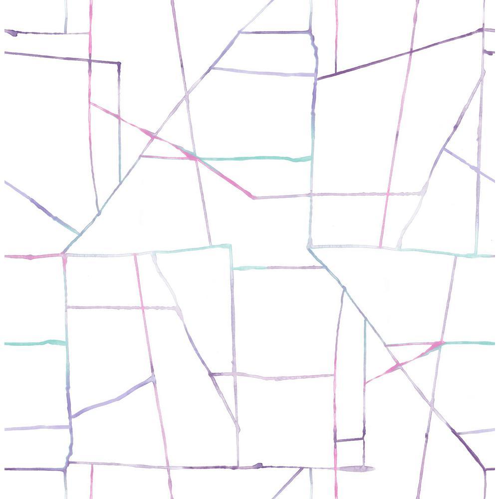 Seabrook Designs Kids Purple, Teal, and Pink Watercolor Geo Wallpaper DA62109