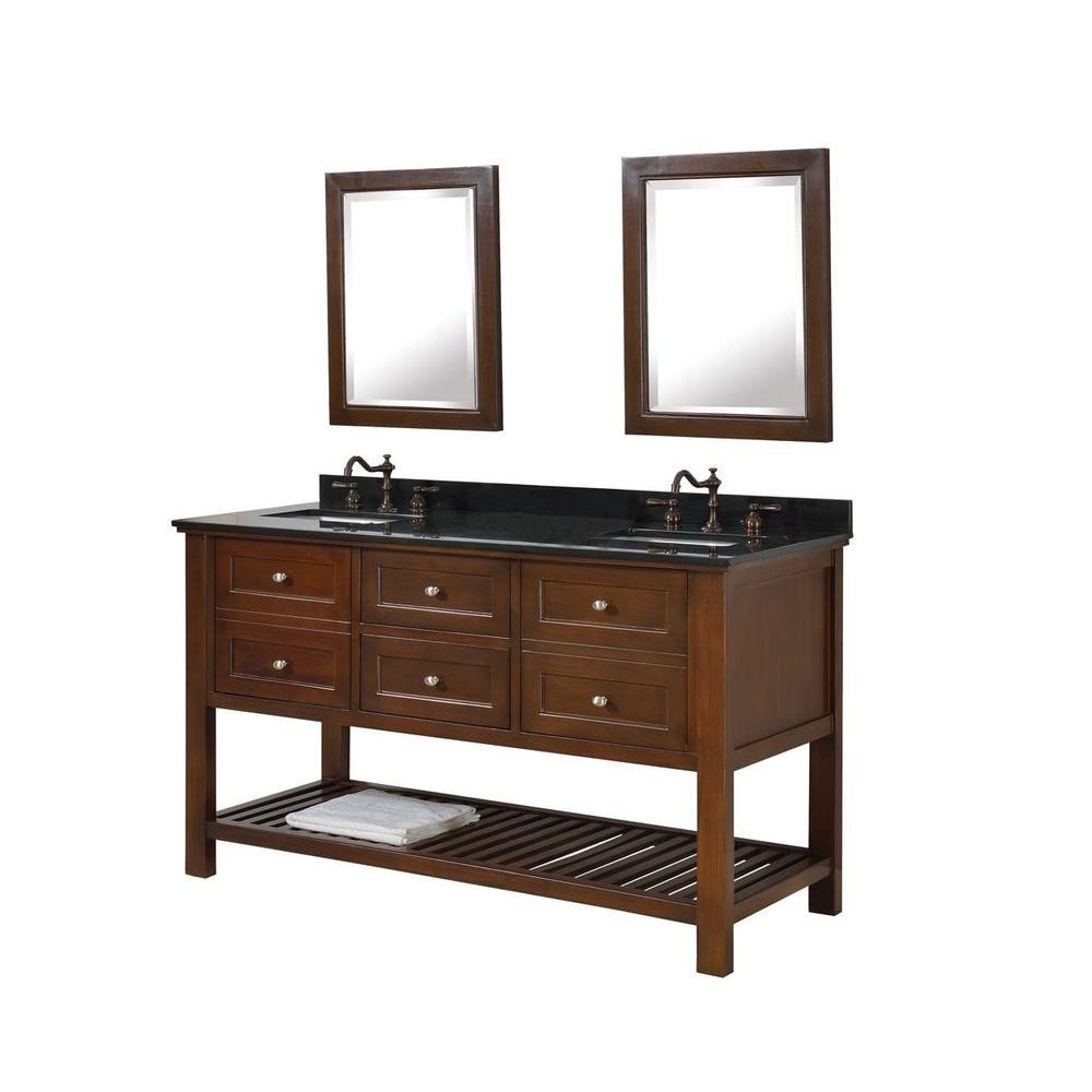 Spa Double Vanity Brown Granite Vanity Top Black Mirrors
