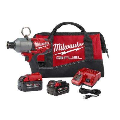 M18 FUEL 18-Volt Lithium-Ion Brushless Cordless Hex 7/16 in. Impact Wrench Kit W/(2) 5.0Ah Batteries, Tool Bag