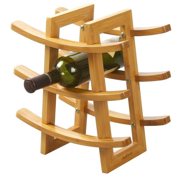 Furinno DaPur 9-Bottle Bamboo Wine Rack FK9136
