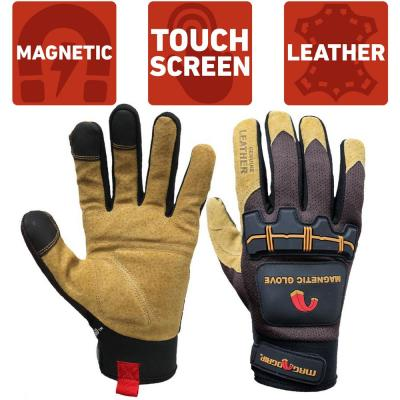 Extra-Large Heavy-Duty Magnetic Glove with Leather Palm and Touchscreen Technology