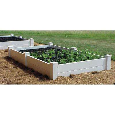 96 in. L x 48 in. W x 11 in. H White Vinyl 2-Level Raised Planter Bed