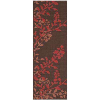 Courtyard Chocolate/Red 2 ft. x 7 ft. Indoor/Outdoor Runner Rug