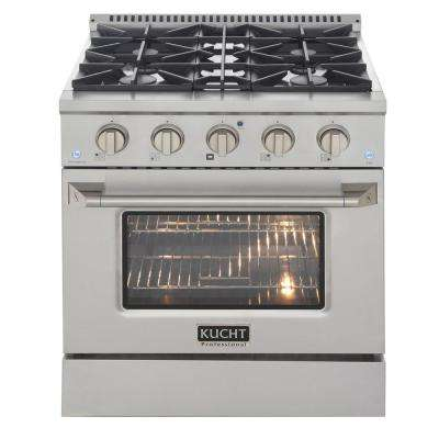 Pro-Style 30 in. 4.2 cu. ft. Propane Gas Range with Sealed Burners and Convection Oven with Silver Oven Door