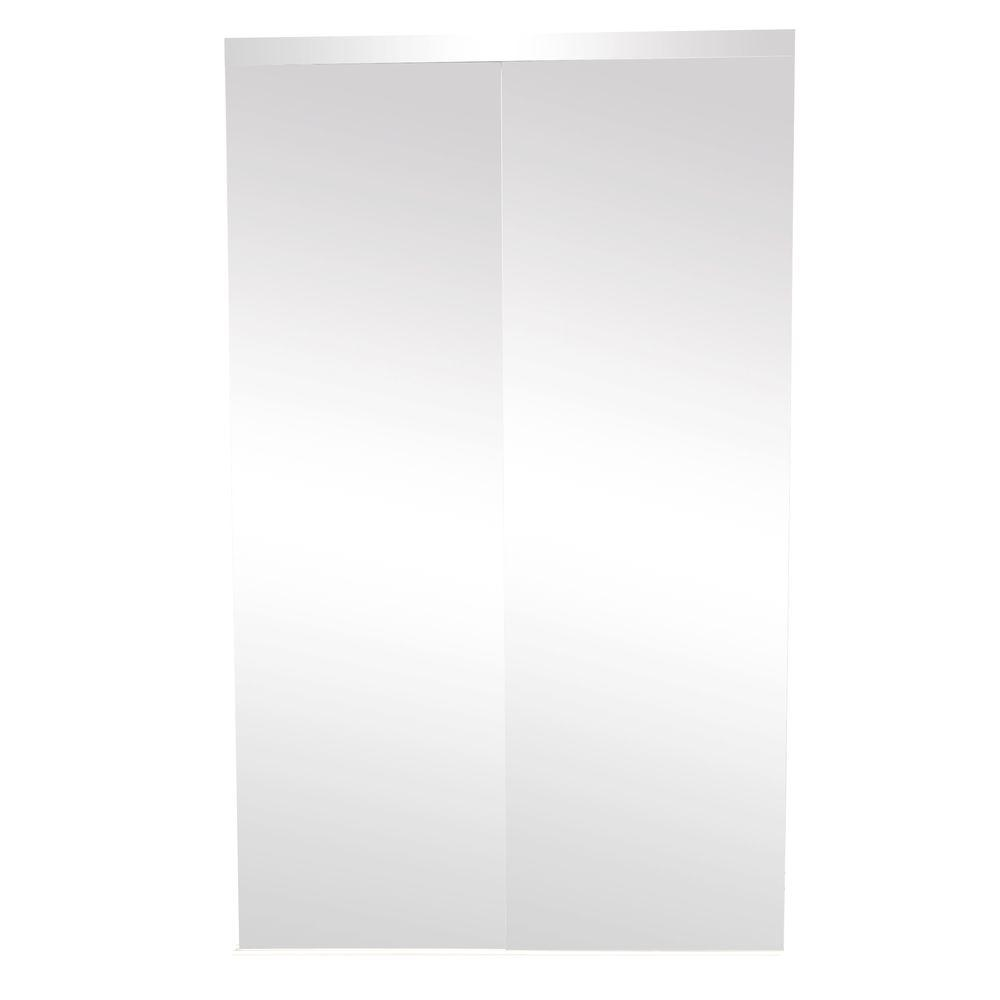 TRUporte 48 in. x 80 in. 325 Series Steel White Frameless Mirror Interior Sliding Door