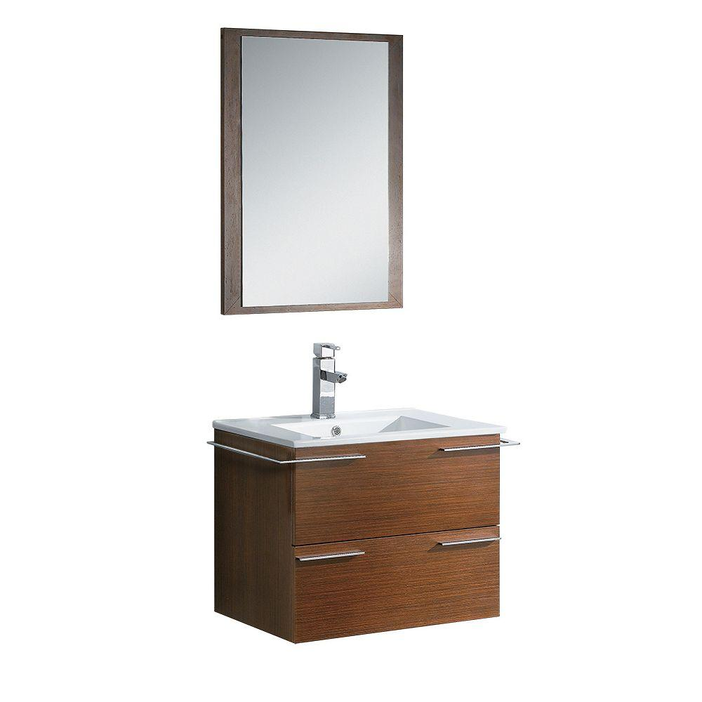 Fresca cielo 24 in vanity in wenge brown with ceramic for Wenge bathroom mirror