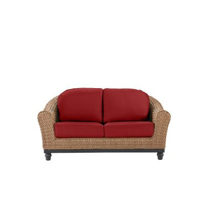 Camden Light Brown Seagrass Wicker Outdoor Patio Loveseat with CushionGuard Chili Red Cushions