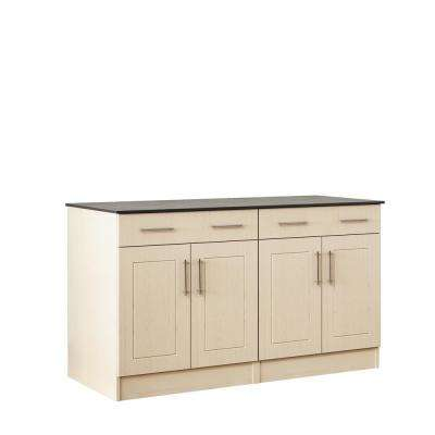 Palm Beach 59.5 in. Outdoor Cabinets with Countertop 4 Door and 2 Drawer in Sand