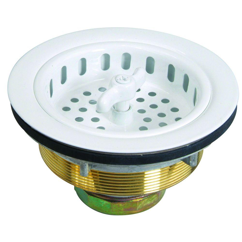 BrassCraft 3-1/2 in. Wing Nut Locking Style Basket Strainer with Nut and Washer in White