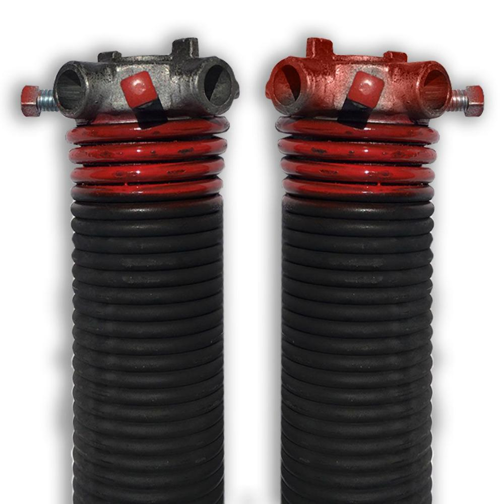 DURA-LIFT 0.225 in. Wire x 1.75 in. D x 27 in. L Torsion Springs in Red Left and Right Wound Pair for Sectional Garage Doors