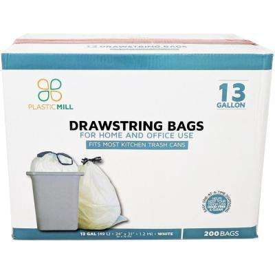 24 in. W x 31 in. H 13 Gal. 1.2 mil White Drawstring Bags (200-Case)