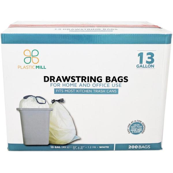 24 in. W x 31 in. H 13 Gal. 1.2 mil White Drawstring Bags (200- Count)