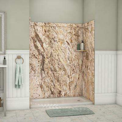 Adaptable 60 in. x 60 in. x 80 in. 9-Piece Easy Up Adhesive Alcove Shower Surround in Golden Beaches