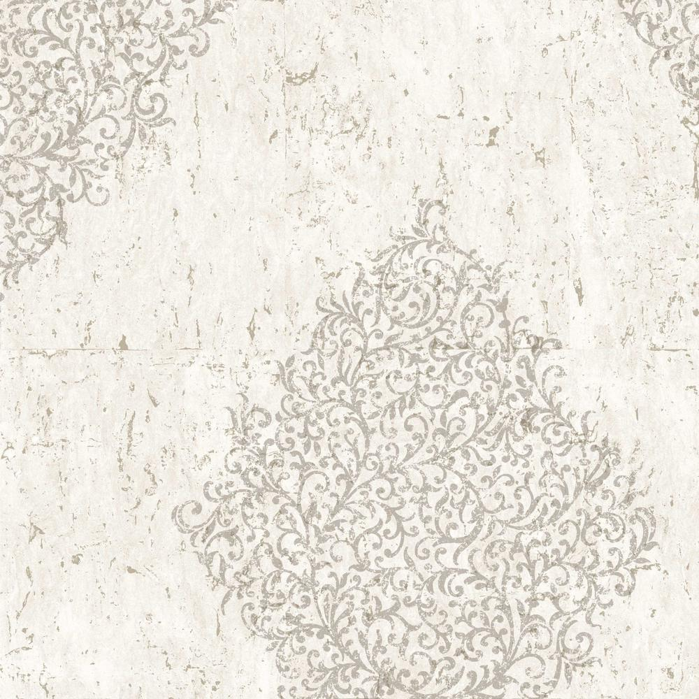 Kyoto Cork Medallion Cream / Pale Gold Wallpaper Sample