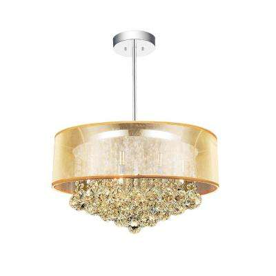 Radiant 9-Light Chrome Chandelier with Gold shade