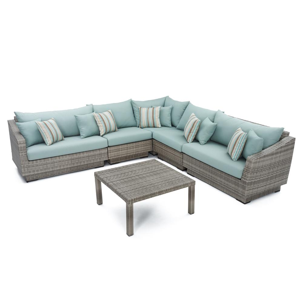 RST Brands Cannes 6-Piece Patio Sectional Seating Set with Bliss Blue Cushions