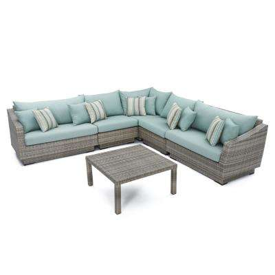 Cannes 6-Piece Patio Sectional Seating Set with Bliss Blue Cushions
