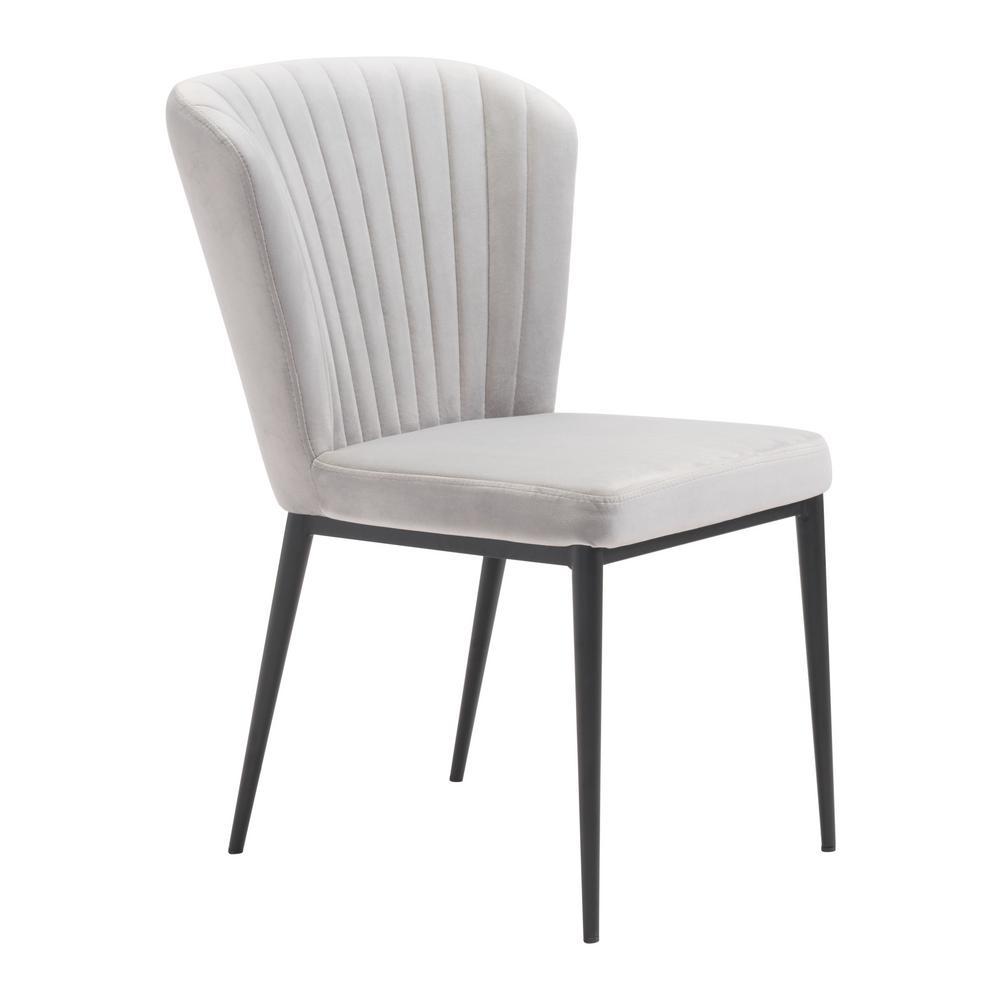 Tolivere Gray Velvet Dining Chair (Set of 2)