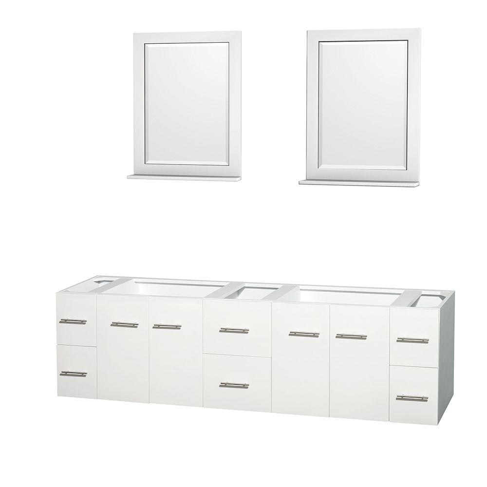 Wyndham Collection Centra 79 In Double Vanity Cabinet With 24 Mirrors White