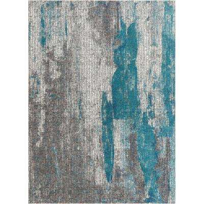 Allure Sloane Blue Vintage Paint Splash Abstract Mosaic 3 ft. 11 in. x 5 ft. 3 in. Area Rug