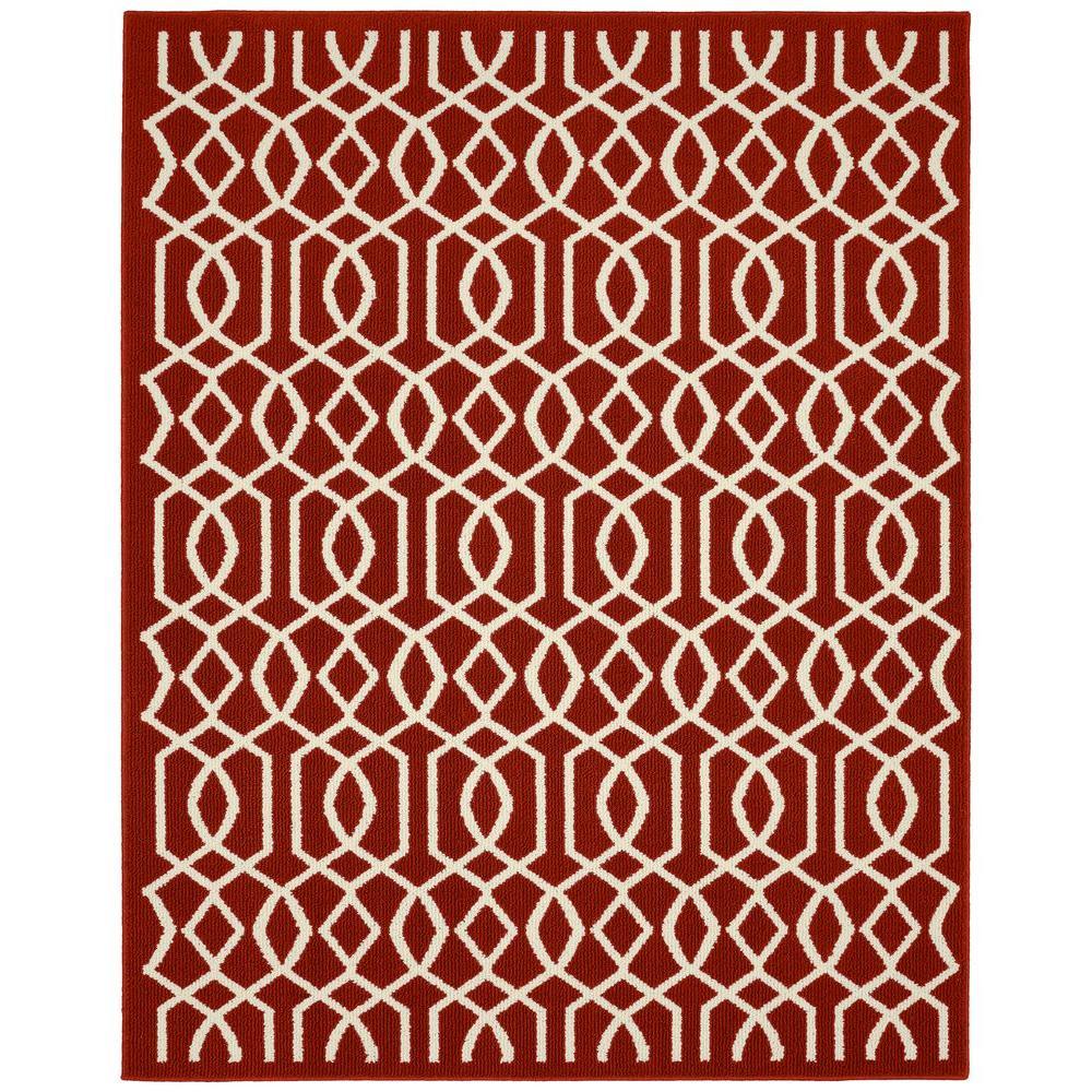 Garland Rug Fretwork Crimson/Ivory 8 ft. x 10 ft. Area Rug ...