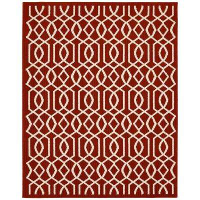 Fretwork Crimson/Ivory 8 ft. x 10 ft. Area Rug