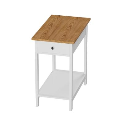 White & Oak Narrow End Table with Drawer