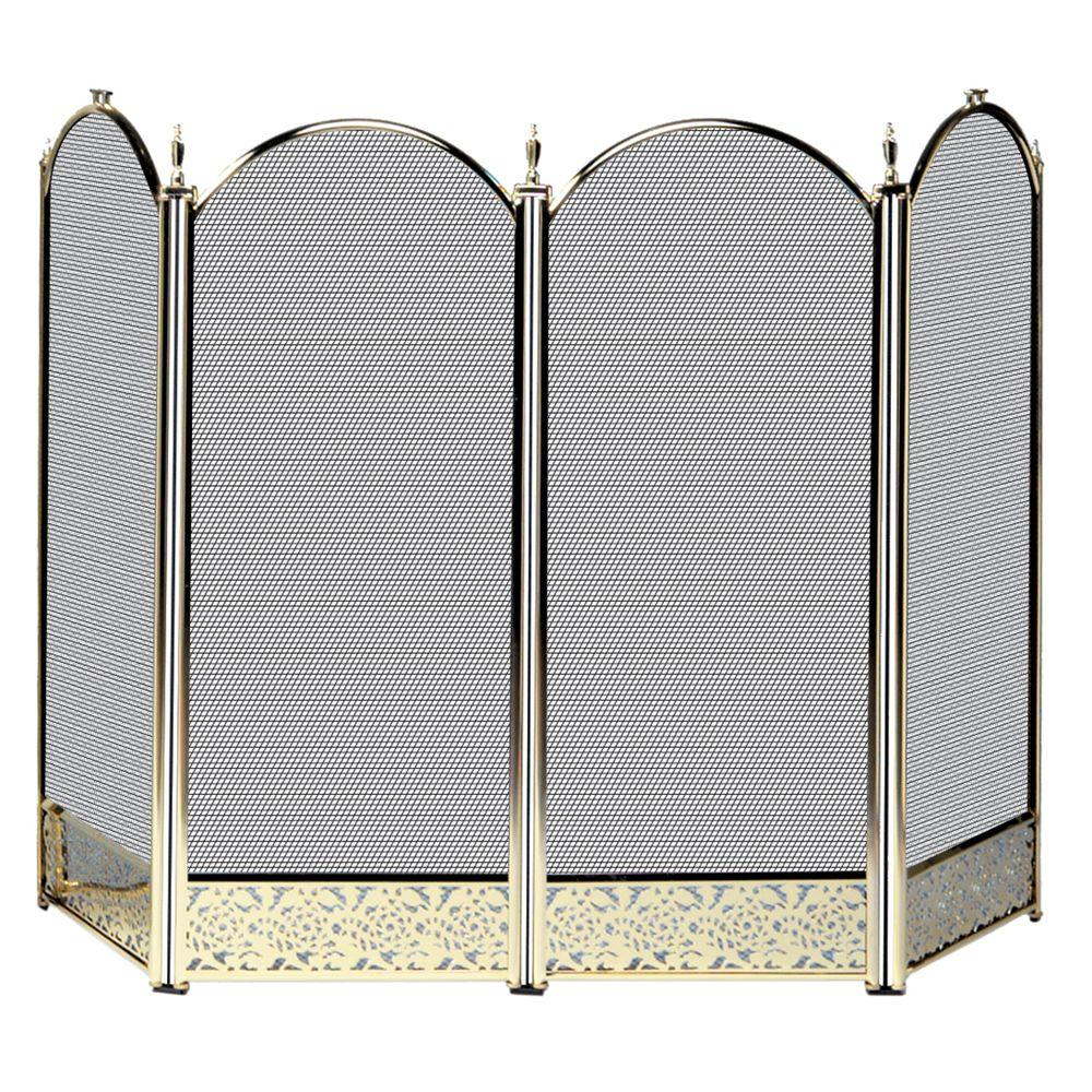 UniFlame Polished Brass 4 Panel Fireplace Screen With Decorative Filigree