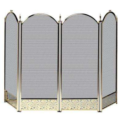 Polished Brass 4-Panel Fireplace Screen with Decorative Filigree
