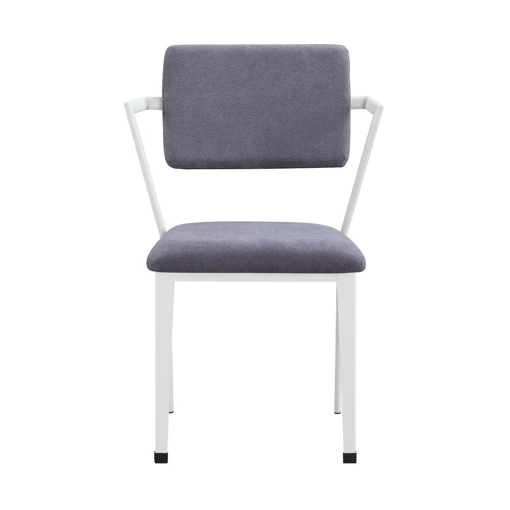 Gray Fabric and White Cargo Dining Chair (Set of 2)