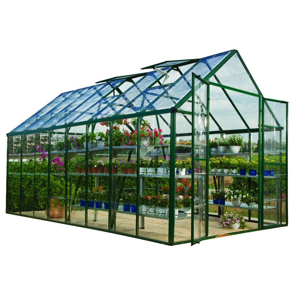 Palram Snap and Grow 8 ft. x 16 ft. Green Polycarbonate Greenhouse