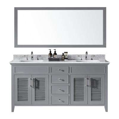 Elise 72 in. W x 22 in. D x 34.21 in. H Bath Vanity in Taupe Grey With White Marble Top With White Basins and Mirror