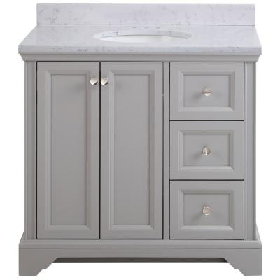 Stratfield 37 in. W x 22 in. D Bathroom Vanity in Sterling Gray with Stone Effect Vanity Top in Pulsar with White Sink