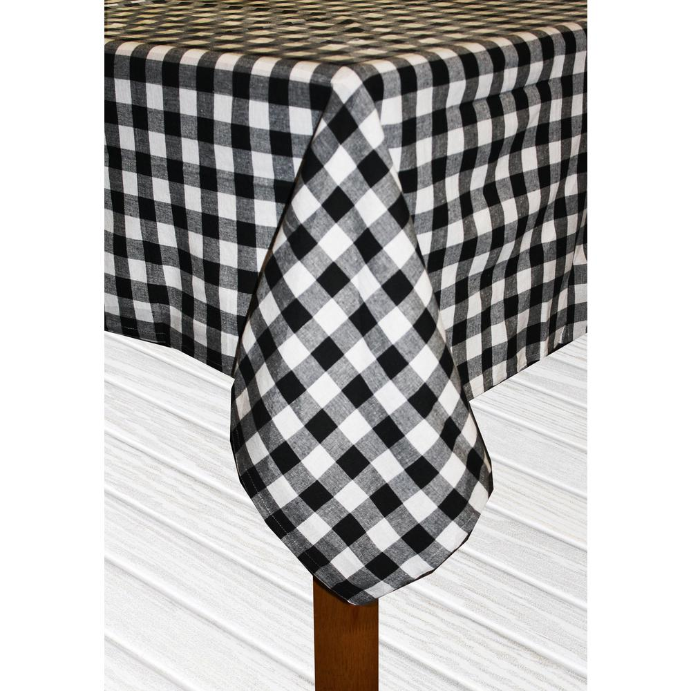 Lintex Buffalo Check 60 In. X 84 In. Black 100% Cotton TableCloth For