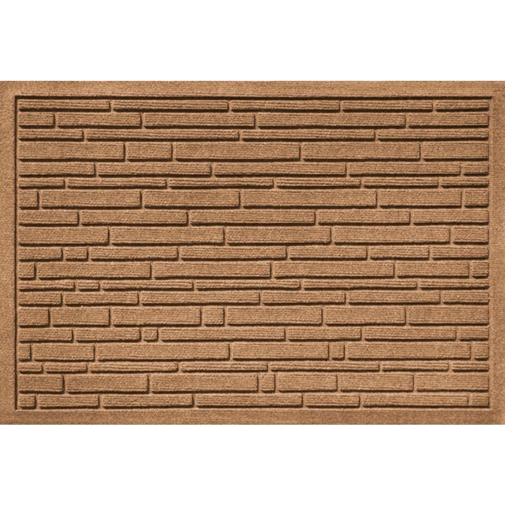 Aqua Shield Broken Brick Medium Brown 17.5 in. x 26.5 in. Door Mat