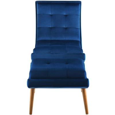 Ramp Navy Upholstered Performance Velvet Lounge Chair and Ottoman Set in