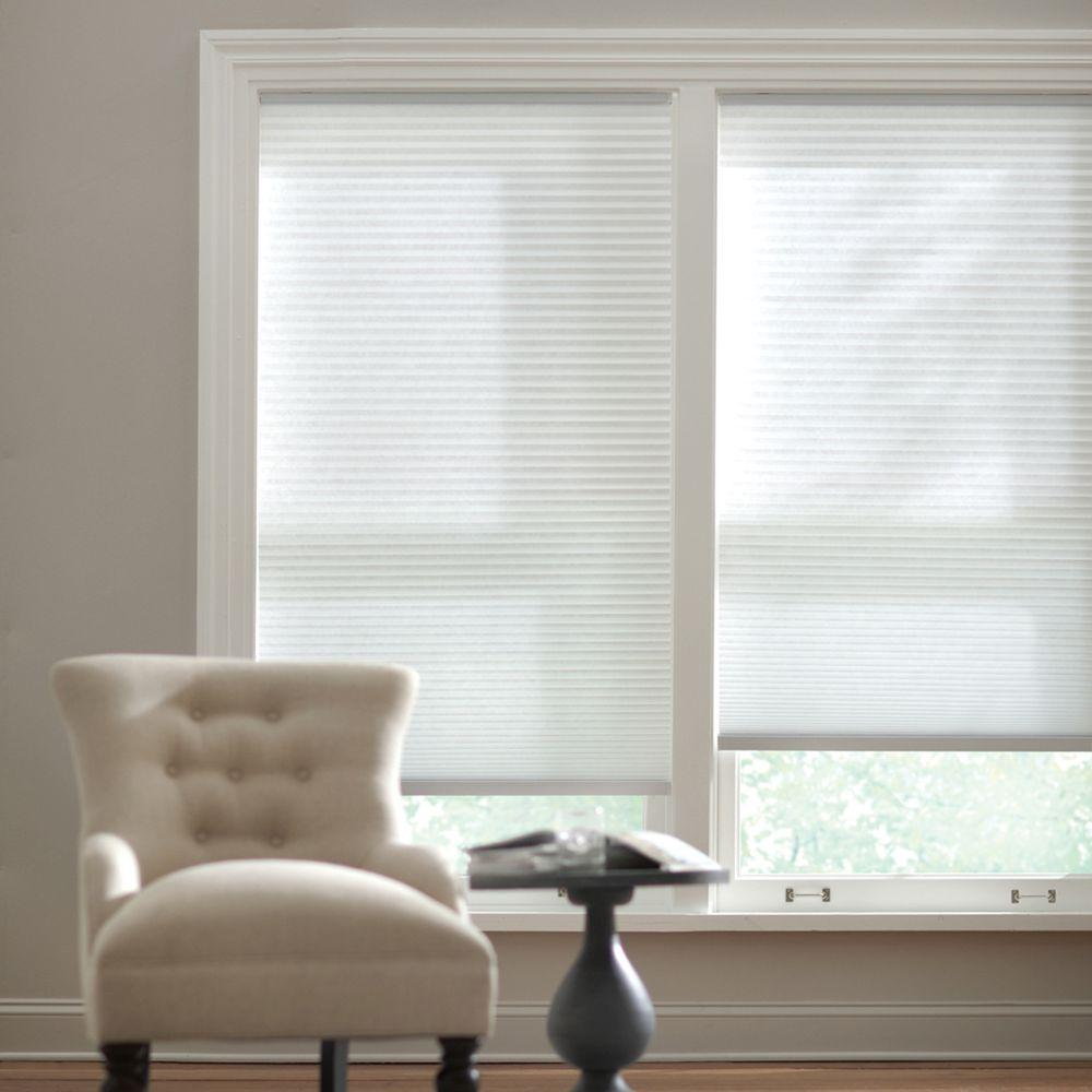 Home Decorators Collection Snow Drift 9/16 in. Cordless Light Filtering Cellular Shade - 34 in. W x 48 in. L (Actual Size 33.625 in. W x 48 in. L)