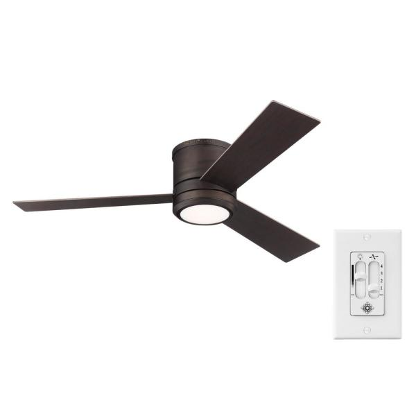 Clarity Max 56 in. Integrated LED Indoor/Outdoor Roman Bronze Flush Mount Ceiling Fan with Wall Switch Control
