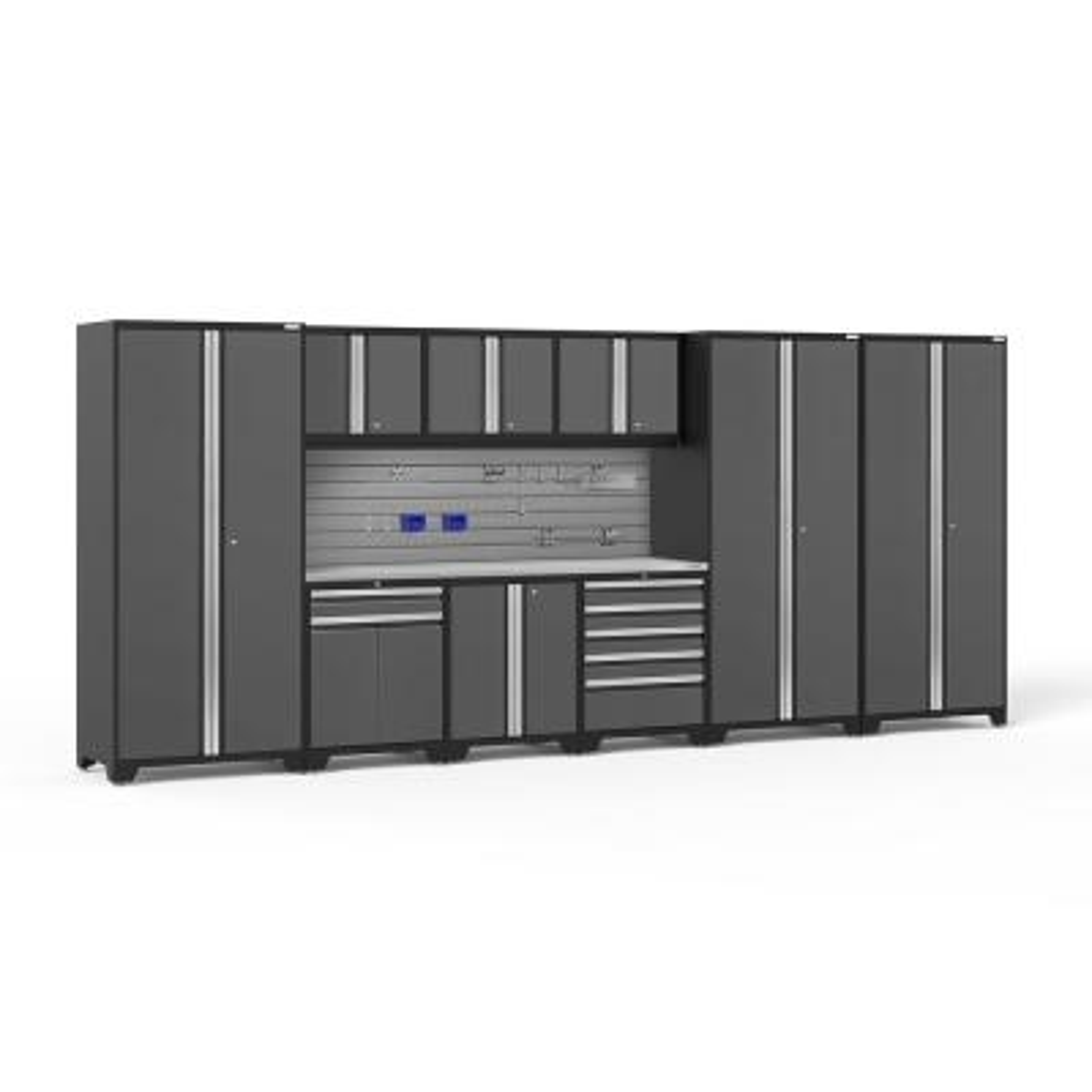 Pro Series 192 in. W x 84.75 in. H x 24 in. D 18-Gauge Steel Cabinet Set in Gray (10-Piece)