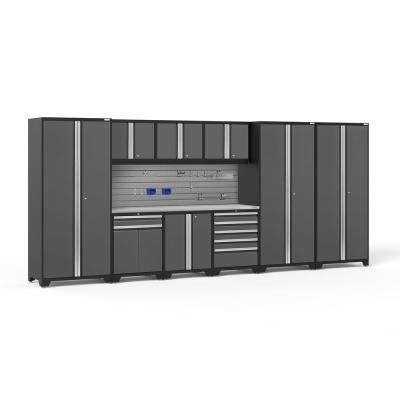 Pro Series 192 in. W x 85.25 in. H x 24 in. D 18-Gauge Steel Cabinet Set in Gray (10-Piece)