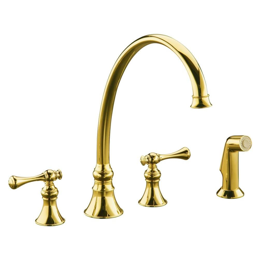 KOHLER Revival 2-Handle Standard Kitchen Faucet in Vibrant Polished Brass