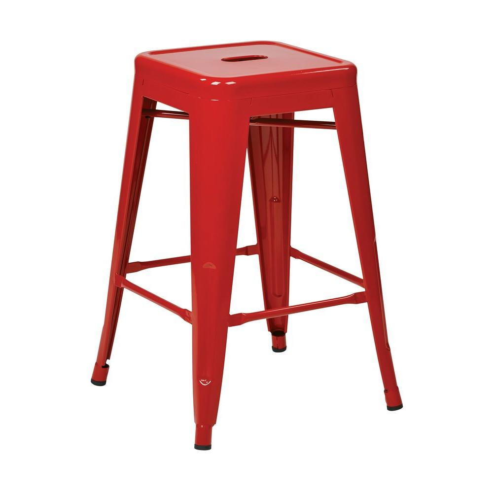 Patterson 24 in. Red Bar Stool (Set of 2)